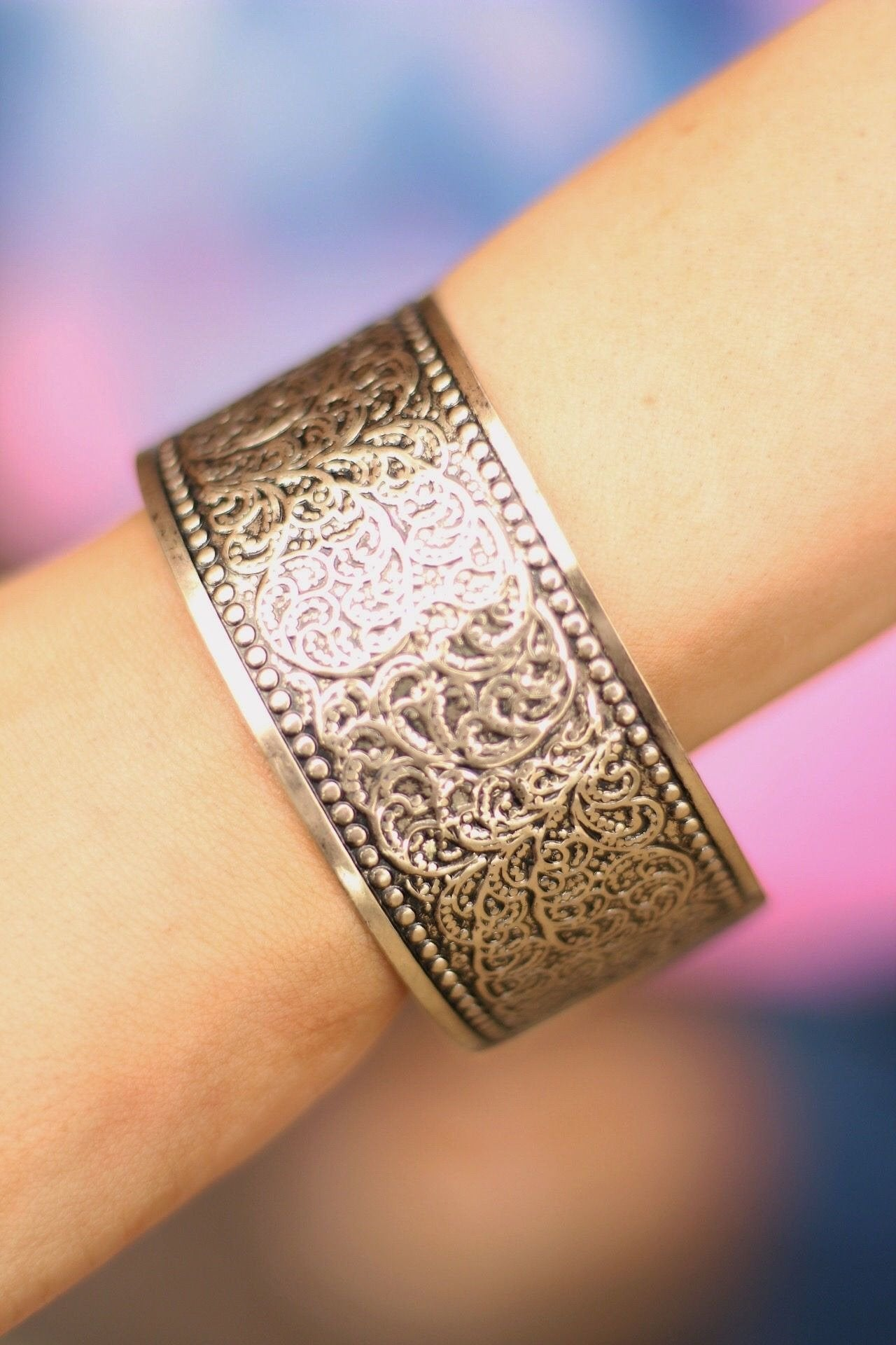 Filigree cuff bracelet in bronze