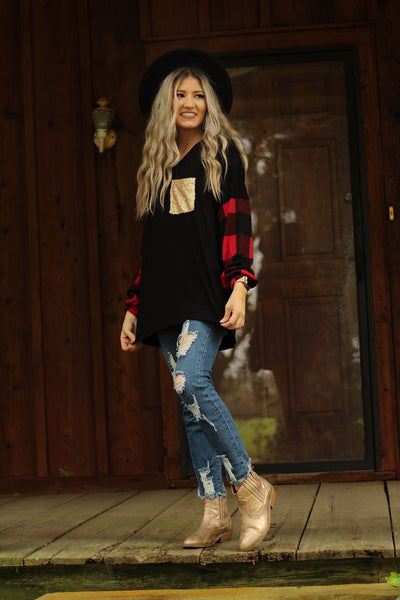 Holidazed plaid bubble sleeve top