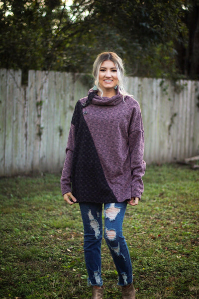 Double take cowl neck top