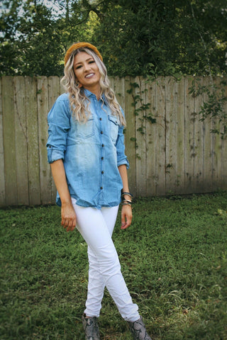 Sunset denim top in light wash