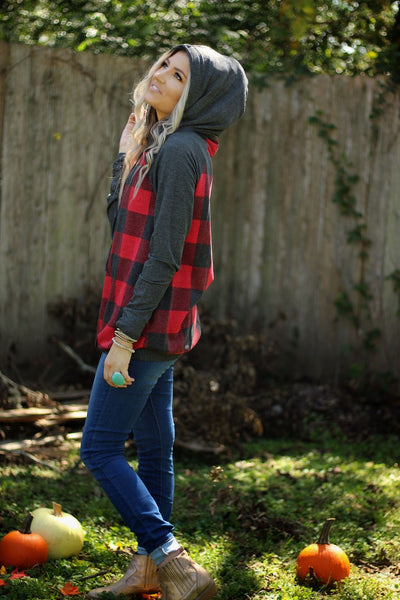 Talk plaid to me hooded pullover