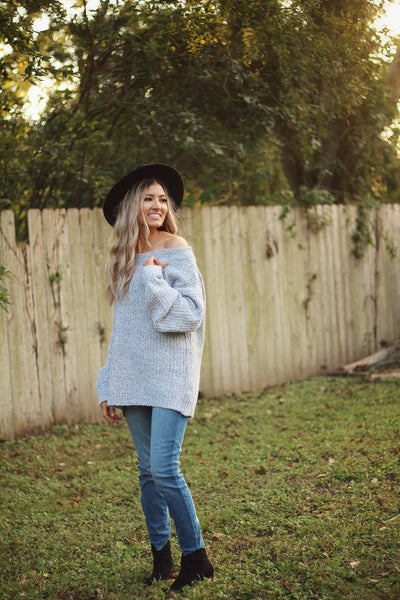 How sweet it is sweater in icy grey