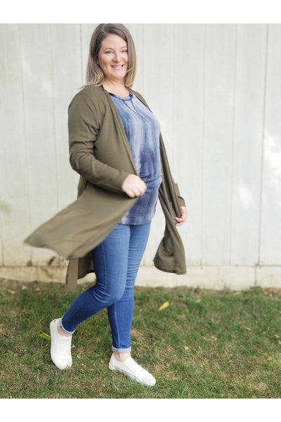 In my feelings duster cardigan in olive