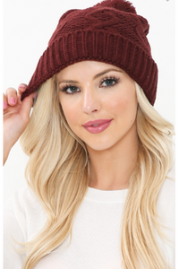 Cozy cable knit pom beanie in burgundy