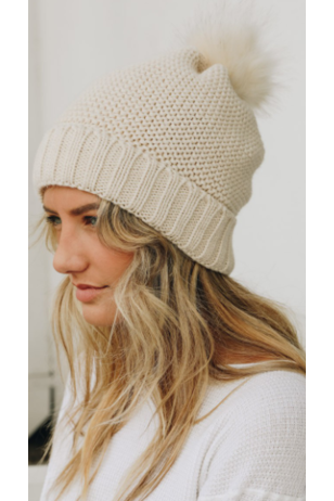 Sherpa lined pom beanie in ivory
