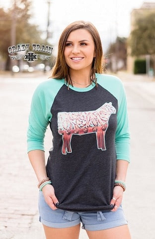 STEER ME RIGHT BASEBALL TEE