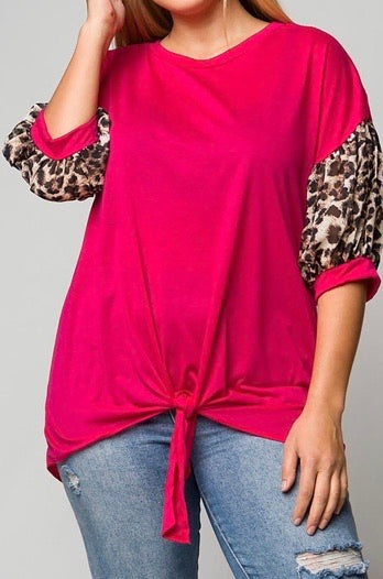 FUCHSIA FABULOUS BISHOP SLEEVE PLUS SIZE TOP