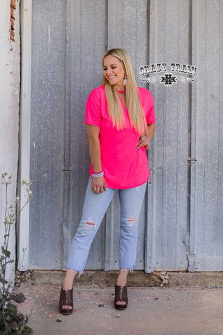 POPPIN PINK TEXTLINE TOP