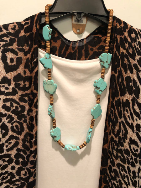 TURQUOISE STONE AND WOOD DISK NECKLACE