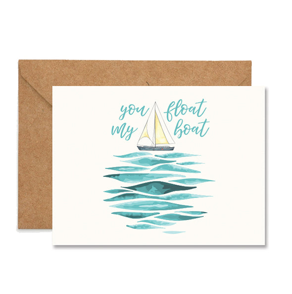 You Float My Boat Valentine Folded Greeting Card