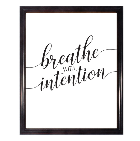 Breathe With Intention Yoga Yogi Wall Art Poster
