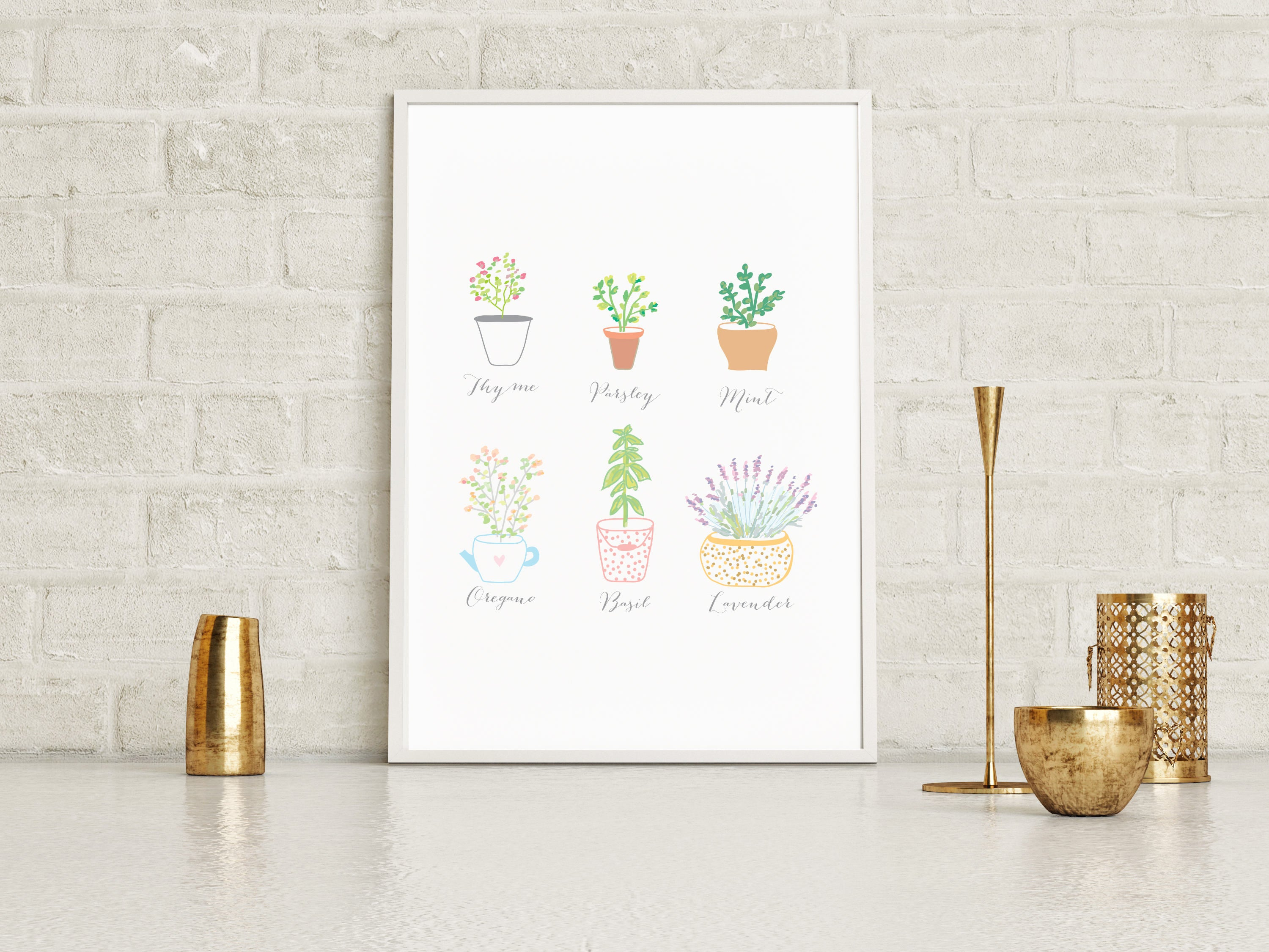 Watercolor Herbs Wall Art Poster
