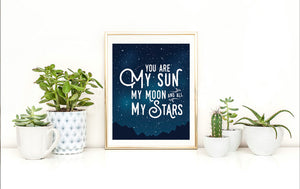 Sun Moon Stars Poster Wall Art