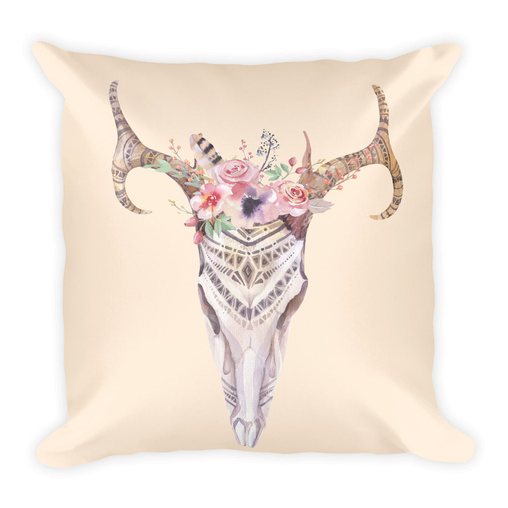 Boho Skull Pillow with Stuffing