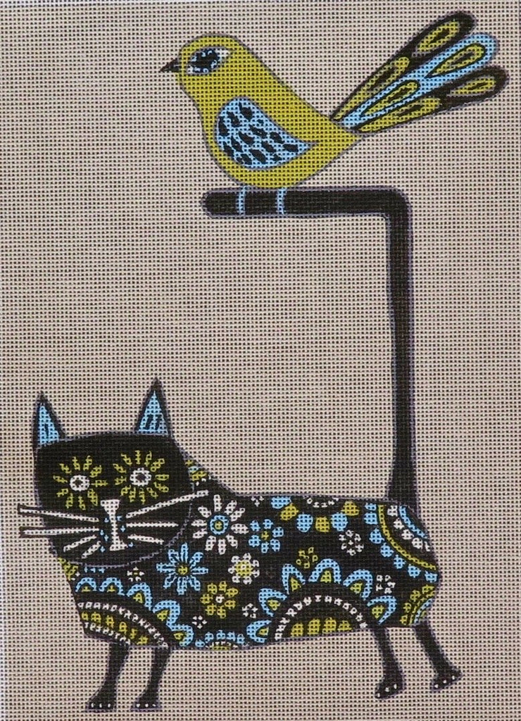 Floral Cat and Bird