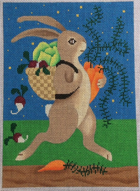 Bunny with Basket holding Carrots