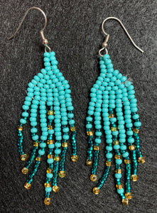 Covid-Relief Beaded Earrings Turquoise - The KindNest Collaborative