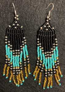 Covid-Relief Beaded Earrings Black-Turquoise-Gold - The KindNest Collaborative