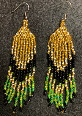 Covid-Relief Beaded Earrings Gold-Black-Green - The KindNest Collaborative