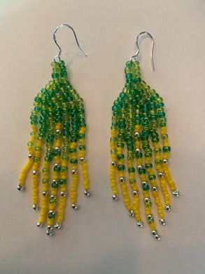 Covid-Relief Beaded Earrings Yellow-Green - The KindNest Collaborative