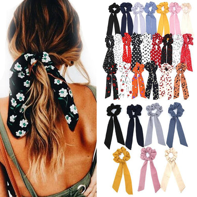 Hair Scrunchies Women Elastic Hair Band Ponytail Scarf Hair Ties Accessories - The KindNest Collaborative