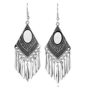Bohemian Bright Silver  Metal Fringes Tassel Earrings - The KindNest Collaborative