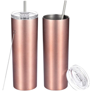 Stainless Steel Double-Insulated Water Tumbler Cup with Lid and Straw - 2pack - The KindNest Collaborative