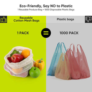 100% Organic Cotton Bio-degradable Kitchen Mesh Bags - The KindNest Collaborative