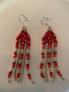 Covid-Relief Beaded Earrings Red-Silver - The KindNest Collaborative