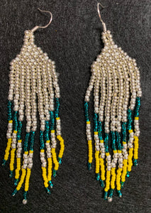 Covid-Relief Beaded Earrings Teal-silver-gold - The KindNest Collaborative