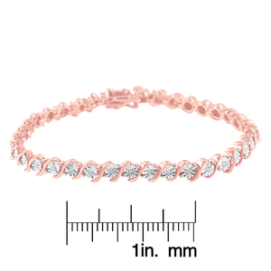 2 Micron 14k Rose Gold Plated Sterling Silver 0.10ct TDW Diamond S-Link Tennis Bracelet  (I-J, I2-I3)