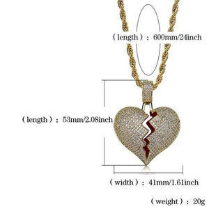 Broken Heart Iced Out Pendant & Necklace - Shoplist