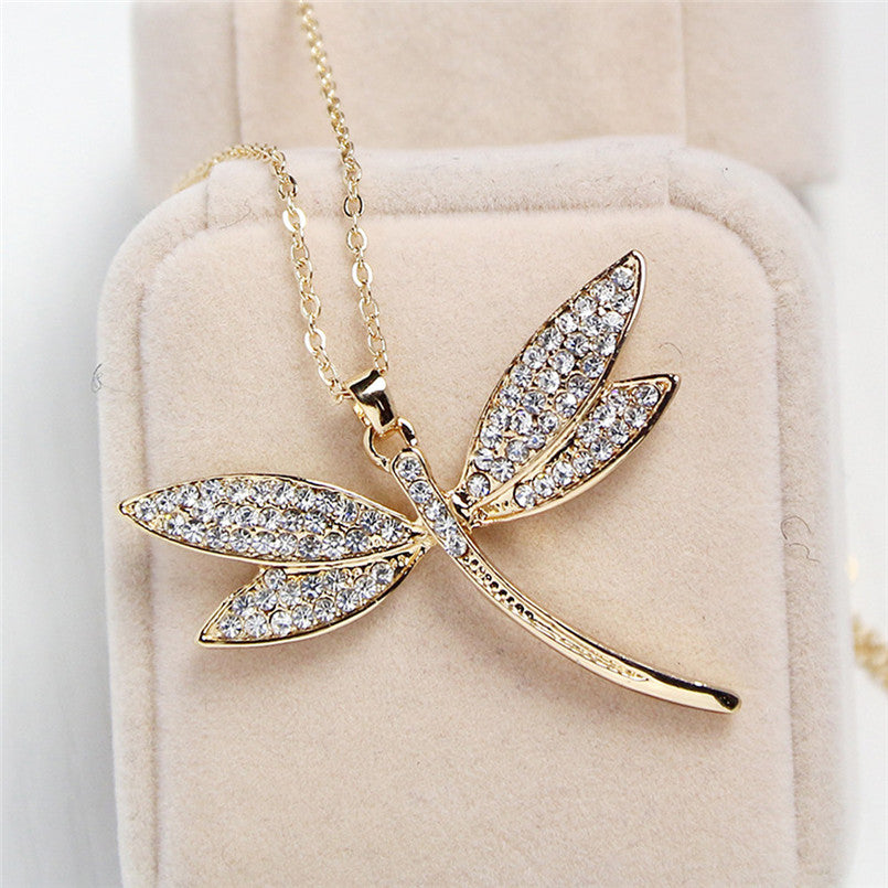 Dragonfly pendant with crystal
