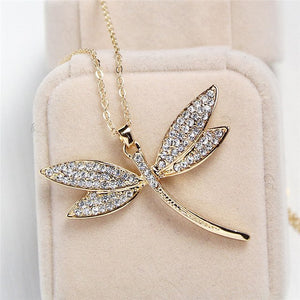 Dragonfly necklace with crystal