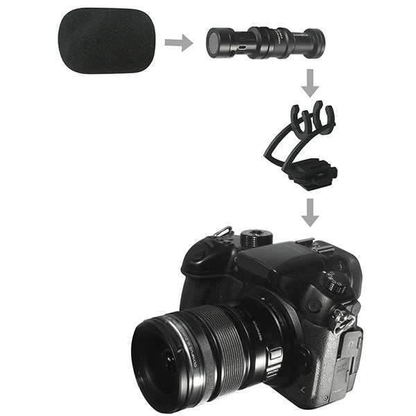 Comica CVM-VM10 II Mini Shotgun Video Microphone with Wind Muff for DSLRs & Smartphones