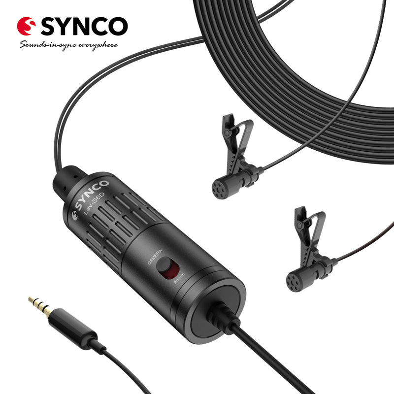 SYNCO Lav-S6D Dual Lavalier Omnidirectional Condenser Microphones for Cameras / Smartphones