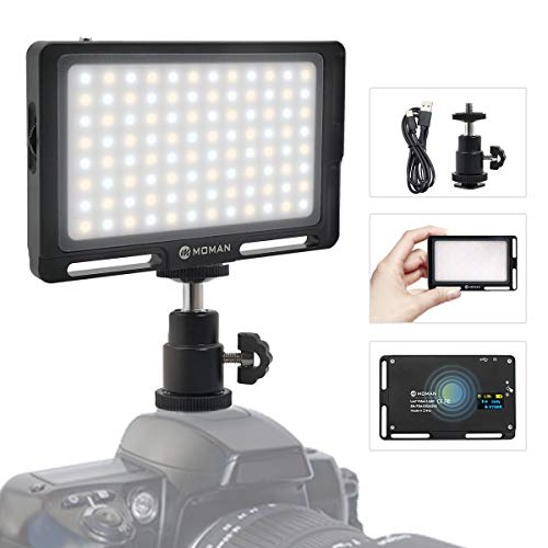 Moman On-Camera LED Video Light Panel 4.5 Inch, Bi-Color 3500K-5700K Dimmable - BLACK with Magnetic