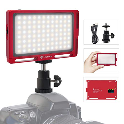 Moman On-Camera LED Video Light Panel 4.5 Inch, Bi-Color 3500K-5700K Dimmable - RED