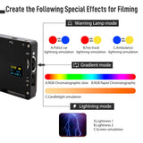 Moman RGB On-Camera LED Video Light Panel 2500K to 8500K TLCI 98+ CRI 96+ Dimmable Lighting Built-in Battery