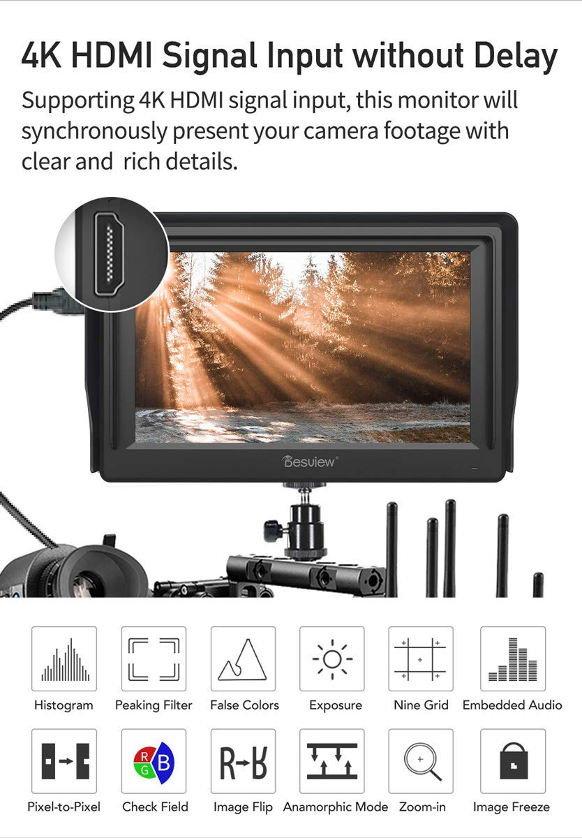 "Desview Mavo-P5 5.5"" on Camera Monitor IGZO Screen with 4K HDMI Input for DSLR"