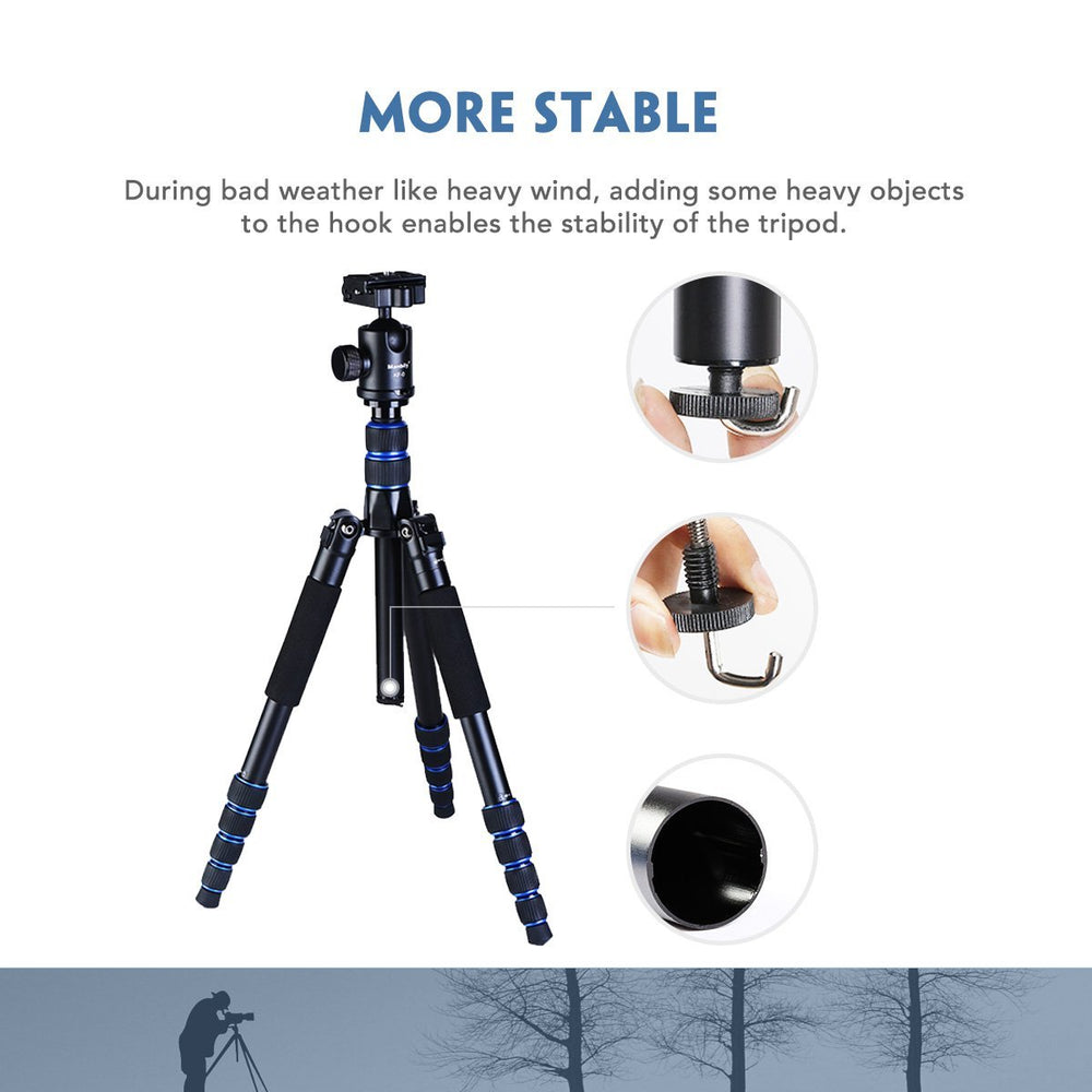 Moman AZ310 Camera Tripod / Monopod, Aluminum Alloy, Axis Inversion Design, 15KG Max Load