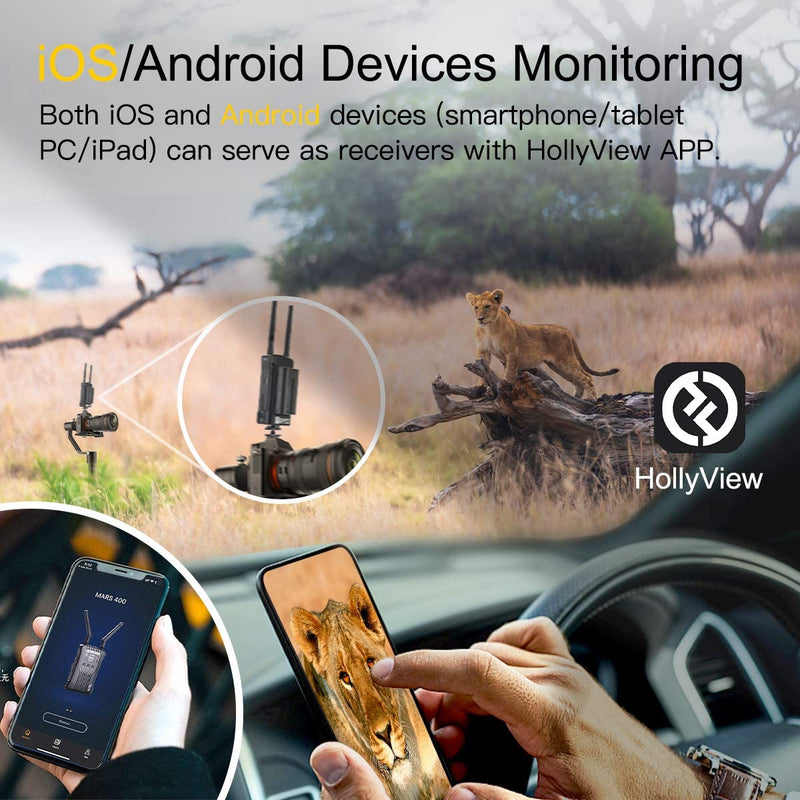 HollyView Mars 400 1080P Wireless Dual HDMI Video Transmission System, 400ft iOS & Android App Monitoring with 3 Scene Modes, OLED Display for Vlog, Live Streaming, Multi-Camera Production
