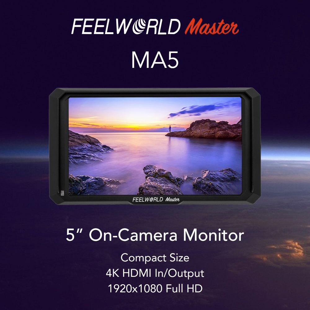 "FEELWORLD Master Series MA5 5"" On-Camera Monitor 1920x1080 4K HDMI Input/Output"