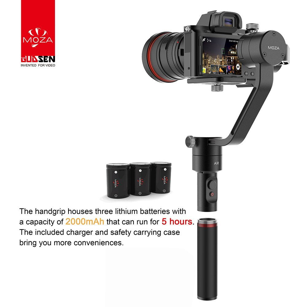 MOZA Air 3-Axis Handheld Gimbal Stabilizer with Dual Grip for DSLRs and Mirrorless Cameras up to 3.2KG / 5.5lb.