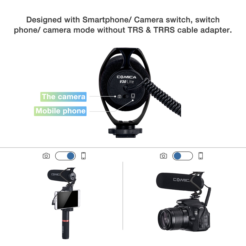 Comica CVM-V30 LITE Shotgun Microphone for DSLR Cameras and Smartphones