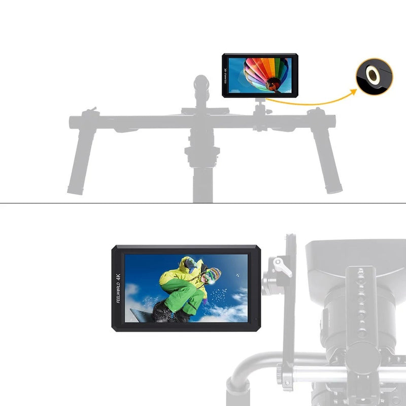 Feelworld F6 5.7-Inch Field Monitor Full HD On-Camera Monitor with Tilt Arm
