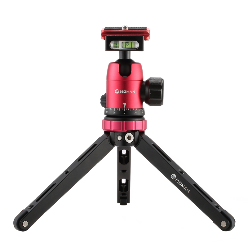Moman Mini Table Top Tripod + Ballhead Combo with 1/4 and 3/8 Screws for DSLRs & Mirrorless