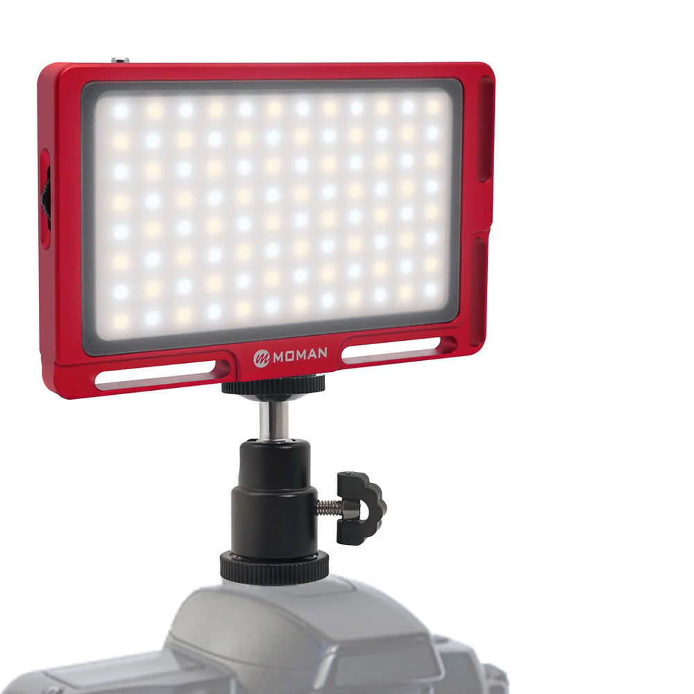 Moman On-Camera LED Video Light Panel 4.5 Inch, Bi-Color 3500K-5700K Dimmable with Magnetic - BLACK / RED