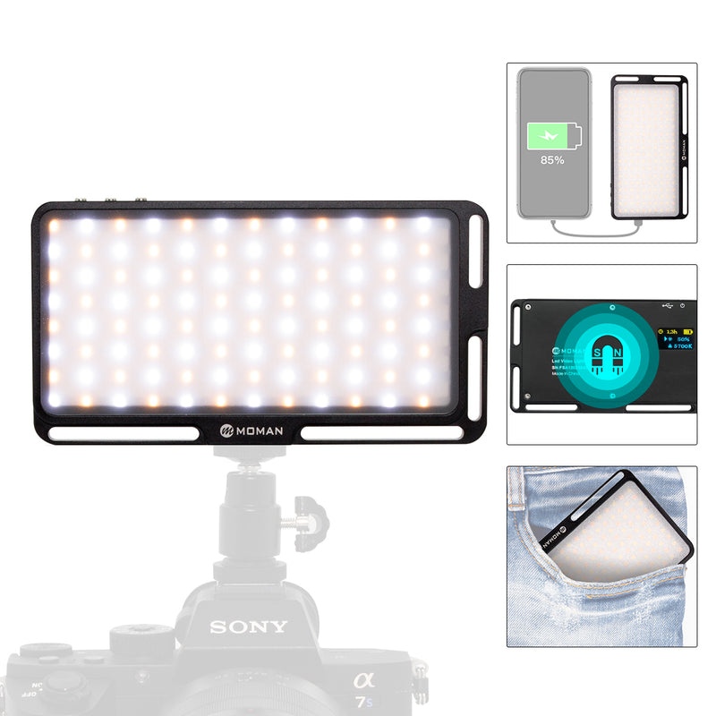 Moman ML6-DC Mini On-Camera LED Video Light / Powerbank Bi-Color 3500K-5700K