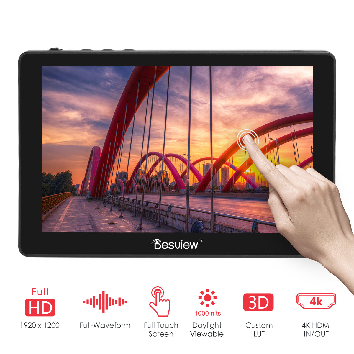 """Desview R7P 7"""" Touch Screen Field Monitor with 1000nits 1920×1200 4K HDMI In & Out"""